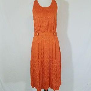 Anthro Postmark Pleated Orange Silk Midi Dress